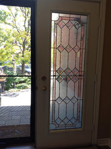 Exterior Front Double Doors with Full Leaded Glass Inserts