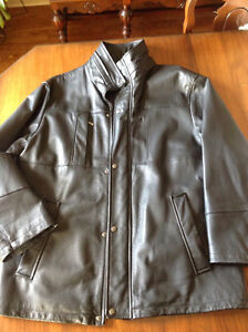 Men's leather jacket with removable liner fleece liner