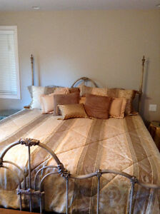 KING SIZE COMFORTER BED SET, TOSS CUSHIONS AND NIGHT TABLES