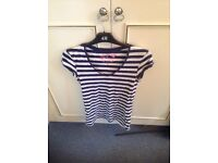 Stripe blue and white t shirt top in excellent condition- unworn size 10