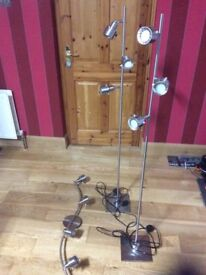 Ceiling spotlights and matching floor standing spotlights for sale