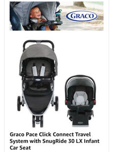 GRACO CAR SEAT & STROLLER FOR 200$! (+ free SkipHop diaper bag)