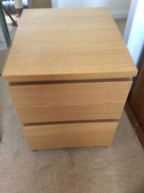 Ikea oak 2 drawer bedside cabinet £20