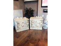 Beautiful shabby chic/vintage distressed set of bedside drawers