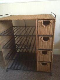 Rattan and cast iron shelf drawer Hi Fi unit