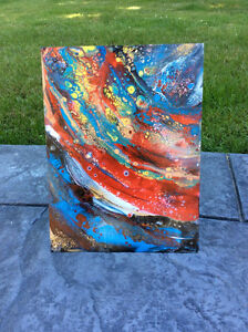 Original abstract art in glass panel