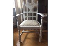White wood shabby chic chair