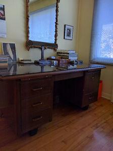 Pupitre Desk Credence 2 Chaises Vintage