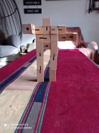 Cubebot Wooden man robot toy