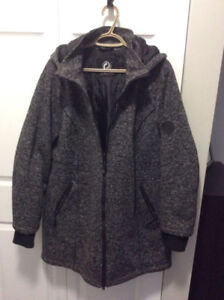Size X Women's Grey Winter Jacket with Removable Hood