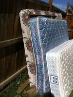 FREE queen mattress set plus single bed with wooden frame