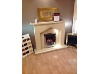 Plain Gothic III Fireplace In Cream Micromarble