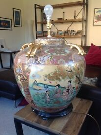 Large Oriental style lamp, eggshell patterning, excellent condition.