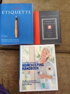 Trio of essential housekeeping and etiquette books 20$