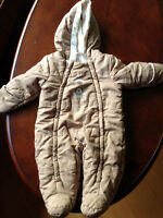 Warm Snow Suit (light brown) 3-6 months PERFECT condition!!