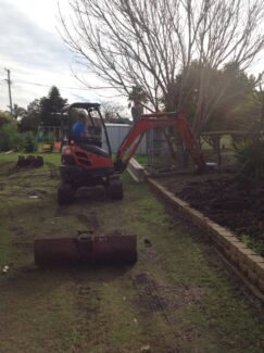 Small excavations, retaining walls, post holes, trenching
