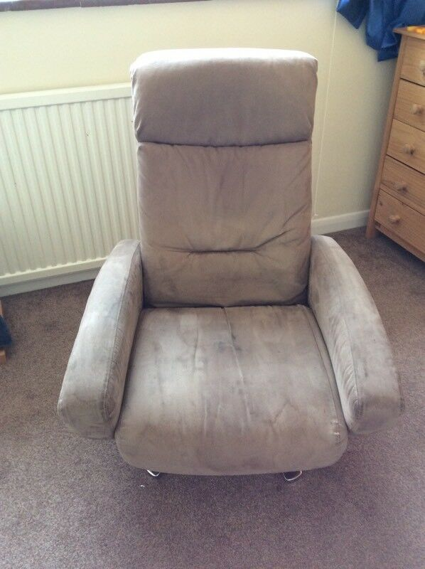 Gorgeous Beige Suede Leather Swivel Chair Armchair