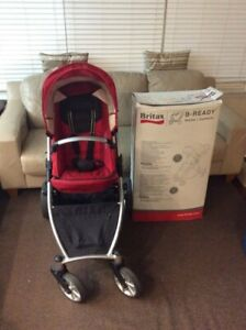 BRITAX B-READY RED STROLLER WITH LOTS OF EXTRA ACCESSORIES