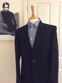 Crombie Suit Black Pinstripe Wool Cashmere 2 button Red Lining