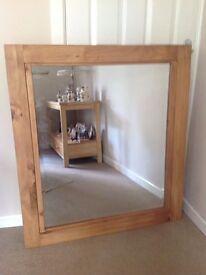 Wooden Pine surround bevelled mirror £50