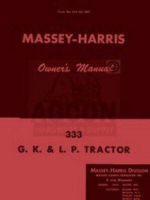 Massey Harris 333 G K Lp L.p. Owners Operators Manual