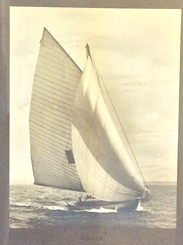 Large antique photograph of a racing Yacht by James Burton N.Y. America