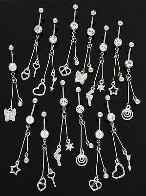 5 Assorted Fancy Long Dangle Belly Rings WHOLESALE Lot 14g Body Jewelry Star Gun