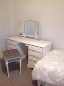 Relyon Bedroom furniture- Dressing table, mirror, stool, Ottoman, 3 Drawer Chest, lamp, headboard