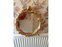 Small Round Gold Gilt Edged Mirror Hallway Lounge Bedroom