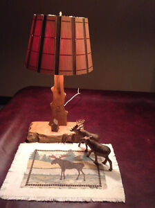 Unique, hand carved, rustic lamp with moose