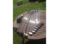 Set of left handed golf clubs and bag