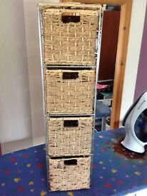 Bathroom wicker basket with drawers