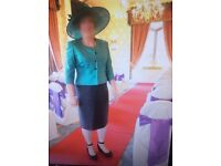 Mother of the bride silk suit Dress and Jacket plus Hat