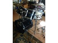 Vintage Pearl Export drum kit black with hardware & cymbals Paiste zildjian