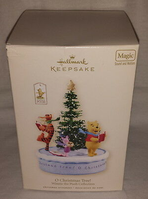 Disney Hallmark Ornament 2008 O Christmas Tree Winnie Pooh Music Box Dented Box