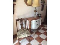 Antique solid chair with original front castors