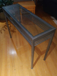 Metal Console Table - Painted Welded Steel Frame, Glass Top