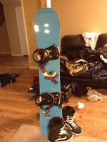 board with bindings and brand new vans boots selling for cheap