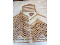 Wooden coat hangers 27in total different 5 types tie / jewellery rack