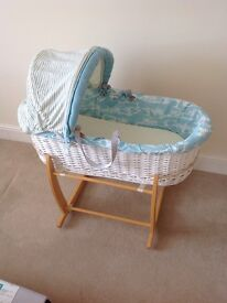 Baby boy Moses basket with stand in excellent condition
