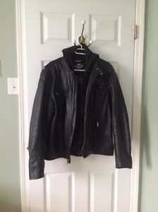 Harley Davidson Leather Riding Jacket w/ Hood