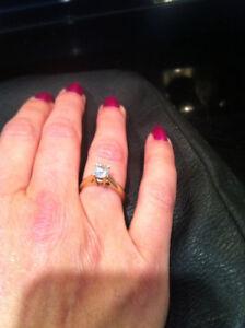 14k Gold Engagement Ring diamond 1k