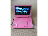 "Pink 7"" portable dvd player"
