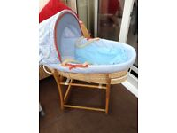 mothercare. moses basket /deluxe rocking stand new condition