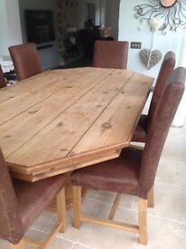 Antique table &6 leather chairs