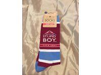 "Brand New Novelty Dads Arms ""Stupid Buy!"" Socks"