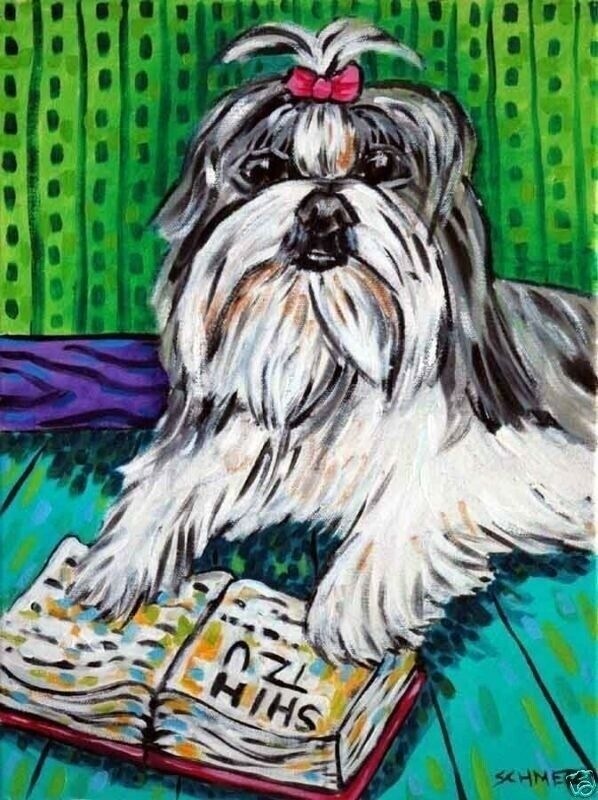 Shetland Sheepdog reading painting dog Art      8.5x11 glossy photo print