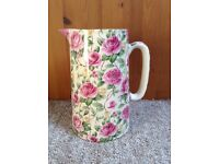 Rose Bloom Pottery Jug // Handmade // Hand Decorated // Floral // Flowers