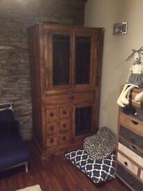 Solid wood Asian style TV cabinet