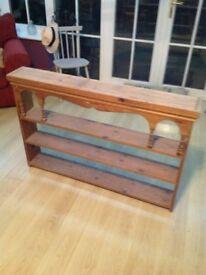Pine plate rack shelving unit